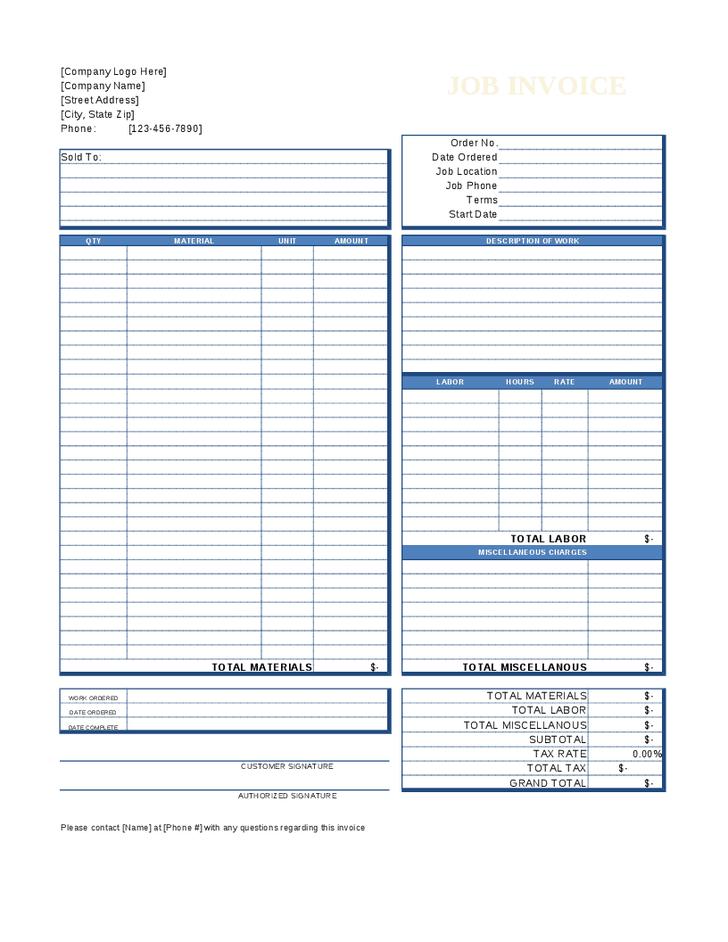 Job Invoice Template | printable invoice template