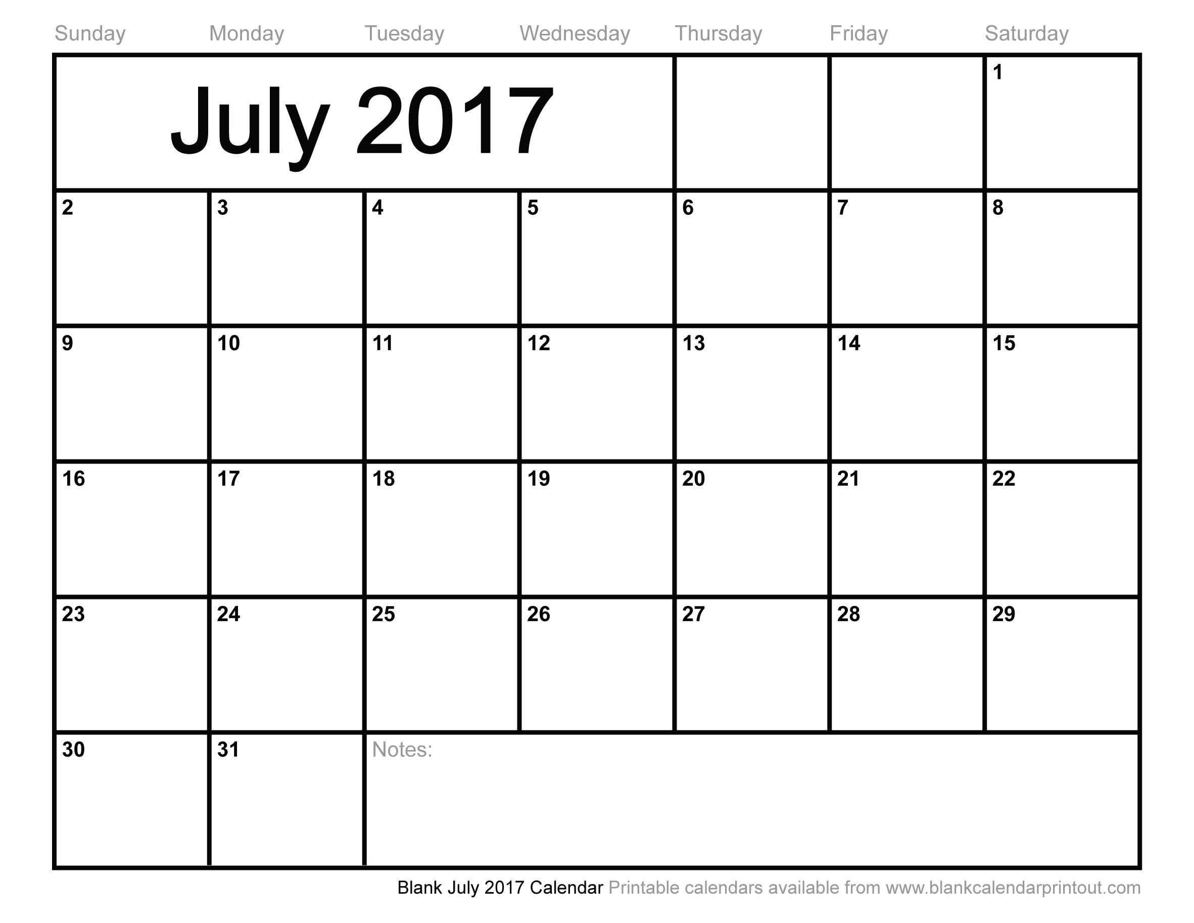Blank July 2017 Calendar to Print