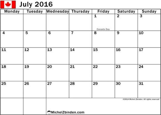 July 2017 Calendar Canada | yearly calendar printable