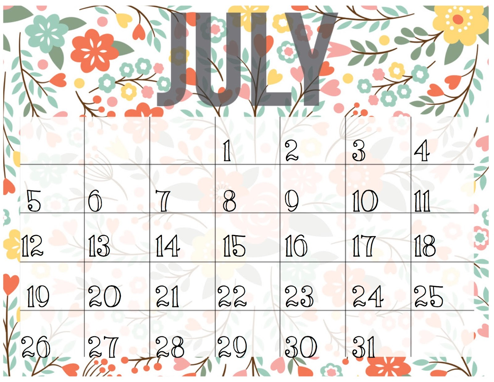 July 2017 Calendar Cute | weekly calendar template