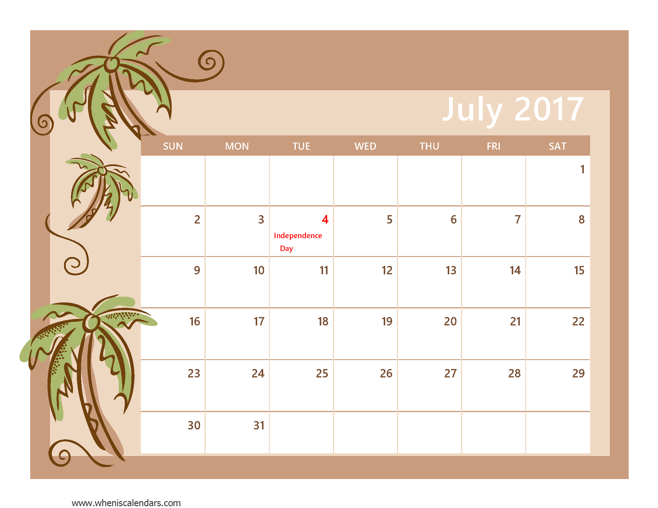 July 2017 Calendar With US Holidays