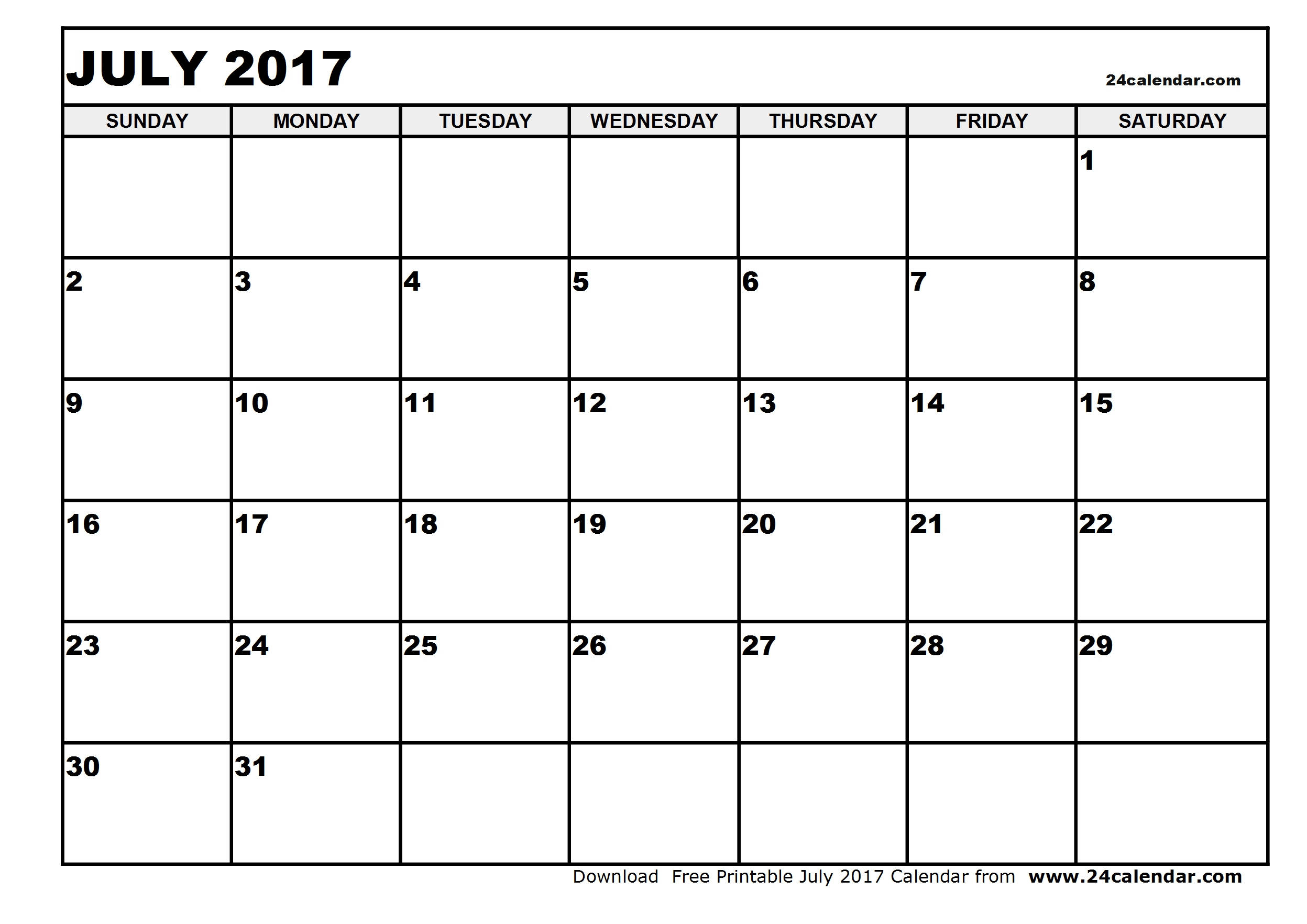Blank July 2017 Calendar in Printable format.