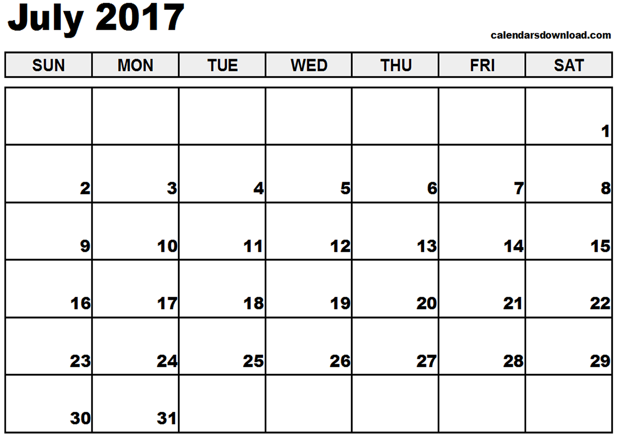 July 2017 Calendar | weekly calendar template