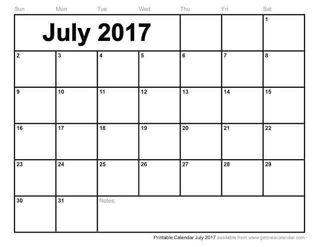Get Printable Calendar : July 2017 Printable Blank Calendar Templates