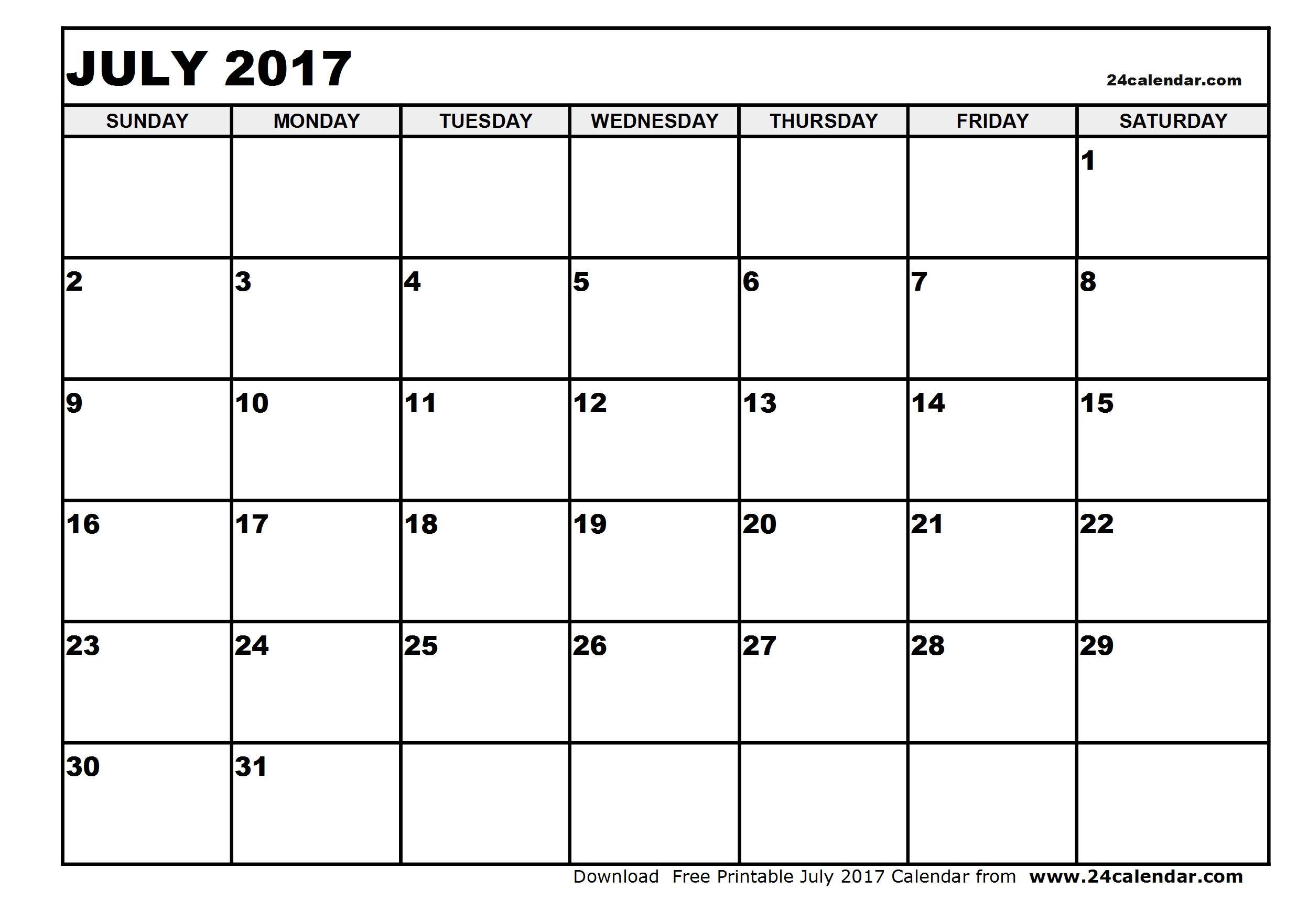 Blank July 2017 Calendar in Printable format.