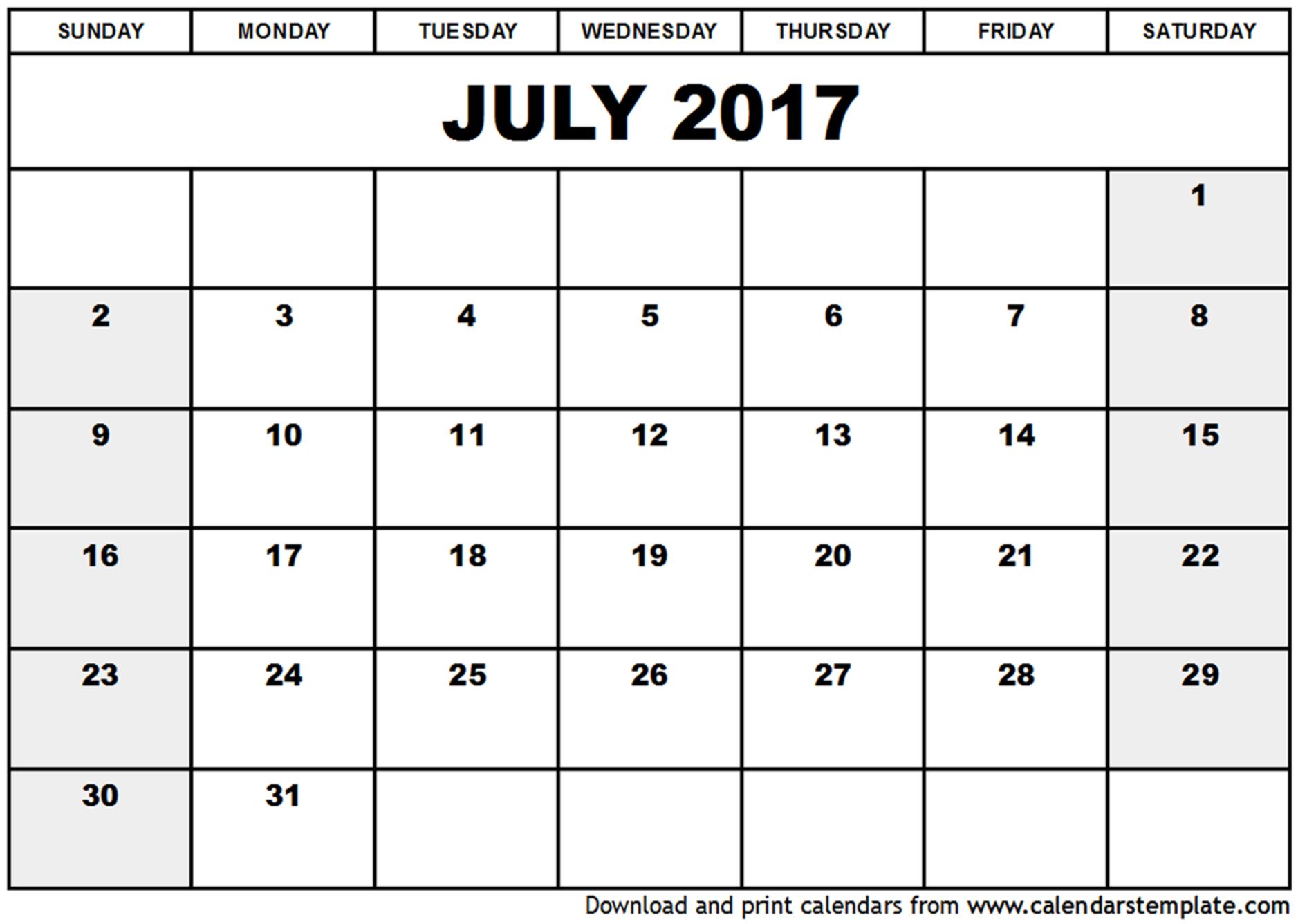 July 2017 Calendar Template   weekly calendar template