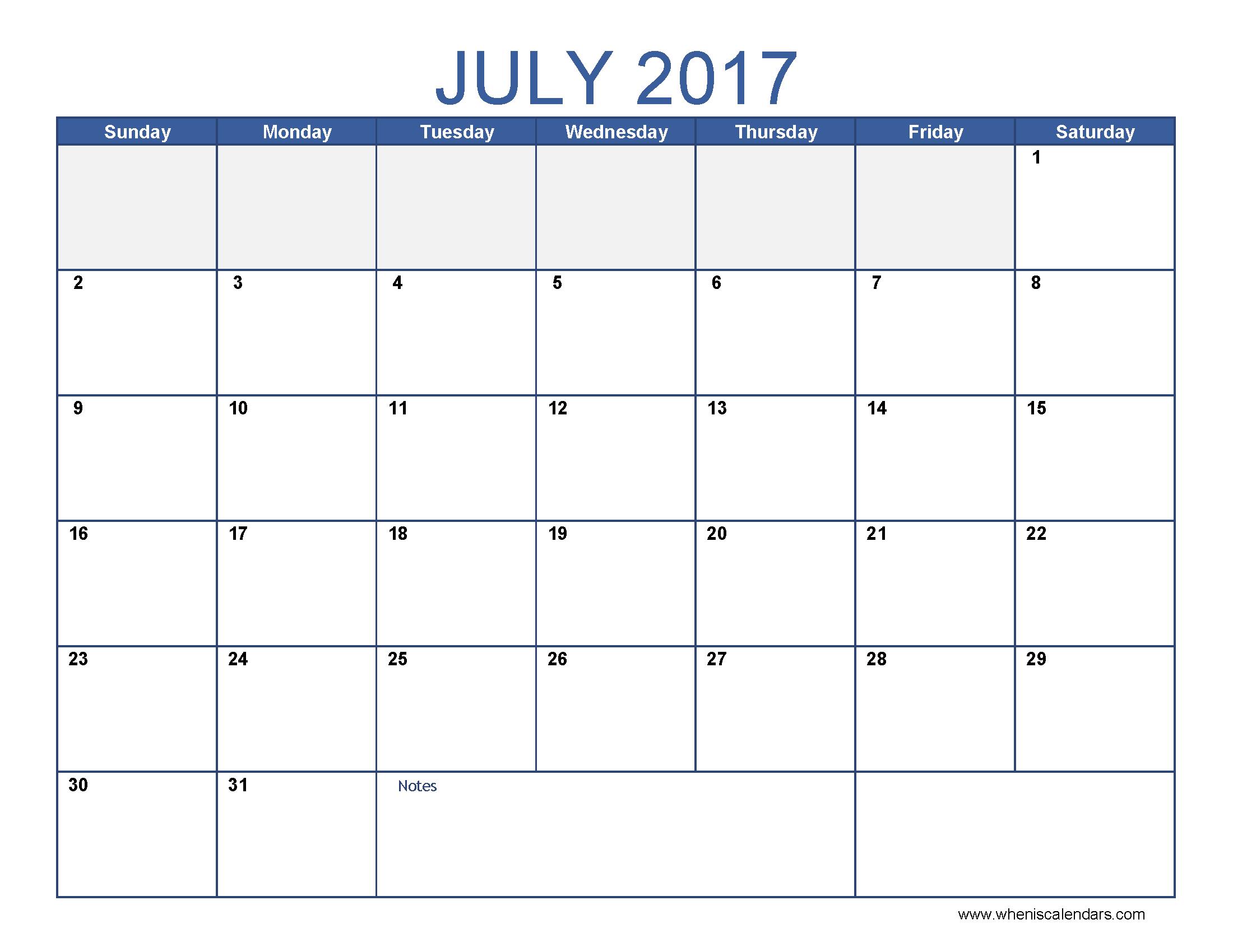 July 2017 Calendar Template | blank calendar printable