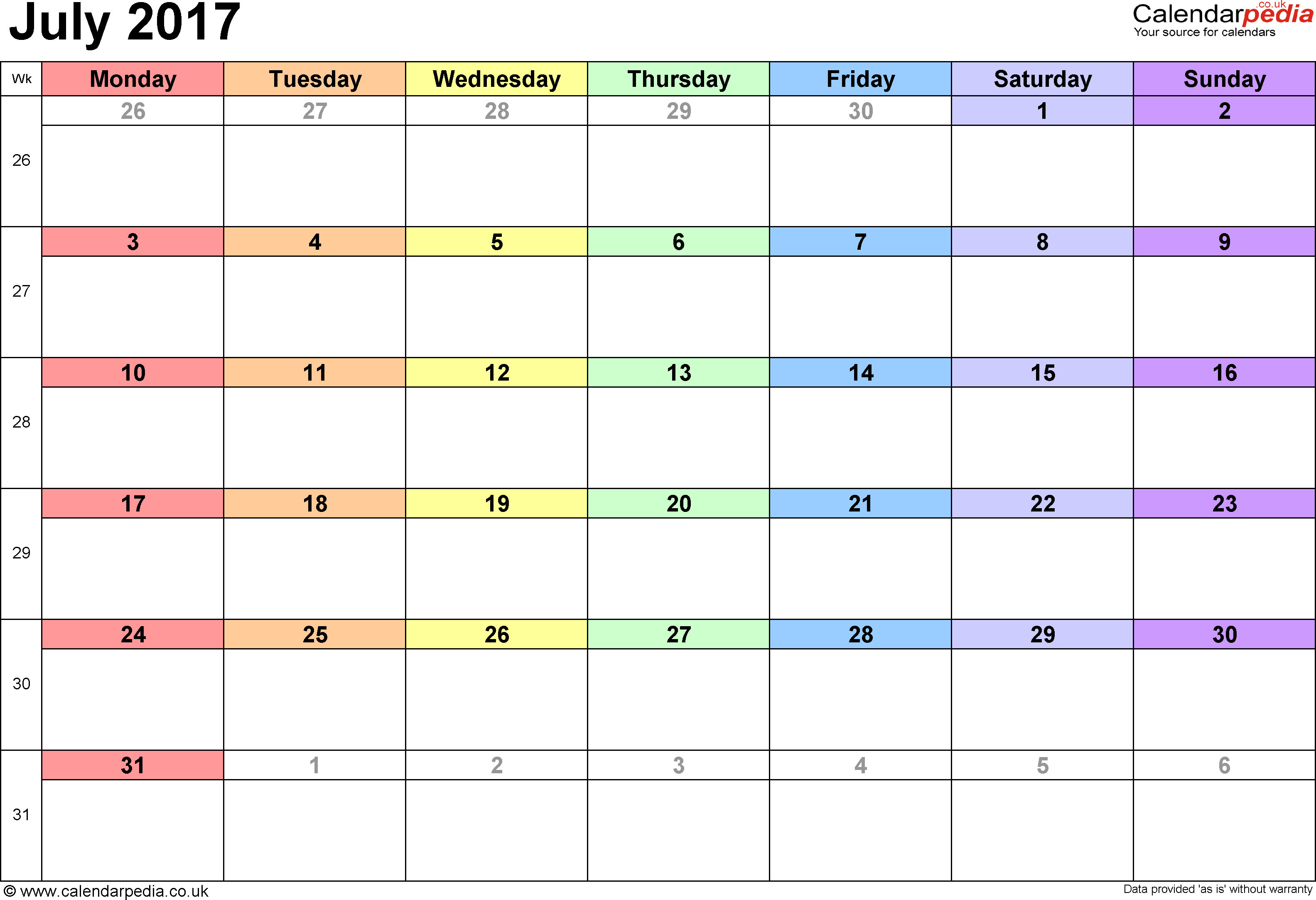 Calendar July 2017 UK, Bank Holidays, Excel/PDF/Word Templates