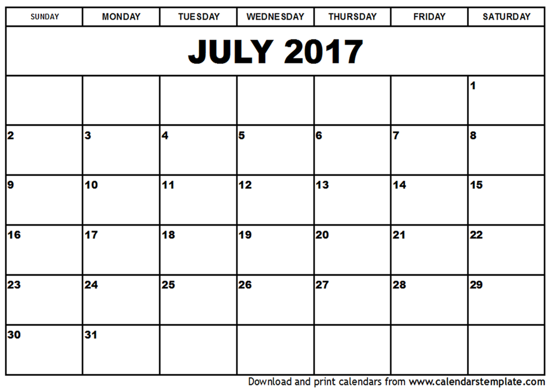 July 2017 Calendar Printable Holidays Template PDF