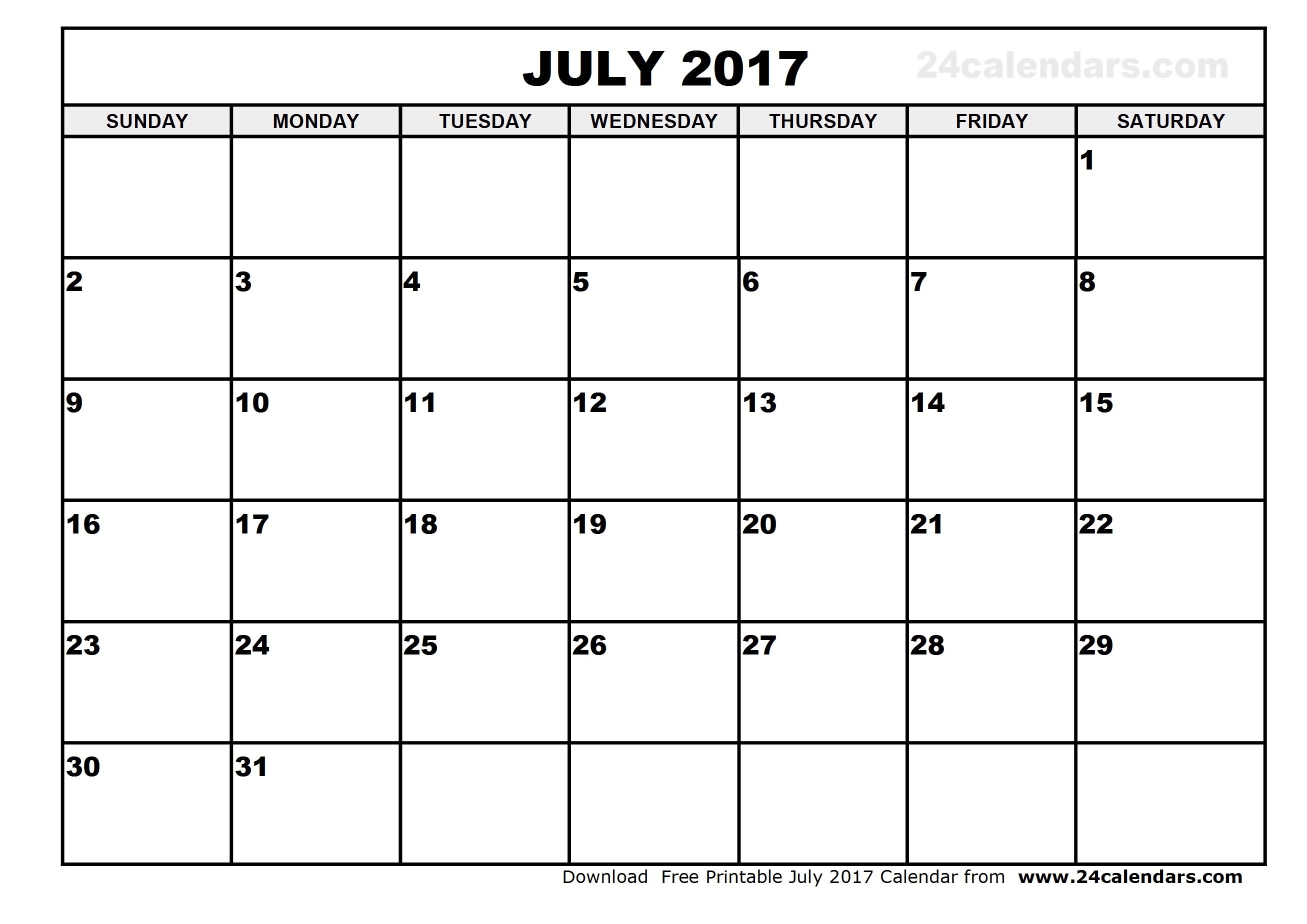 July 2017 Calendar Template | weekly calendar template