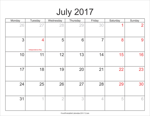 july 2017 calendar with holidays Gallery