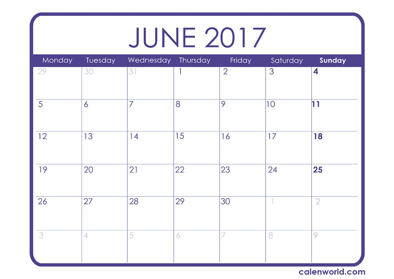June 2017 Calendar Cute | weekly calendar template