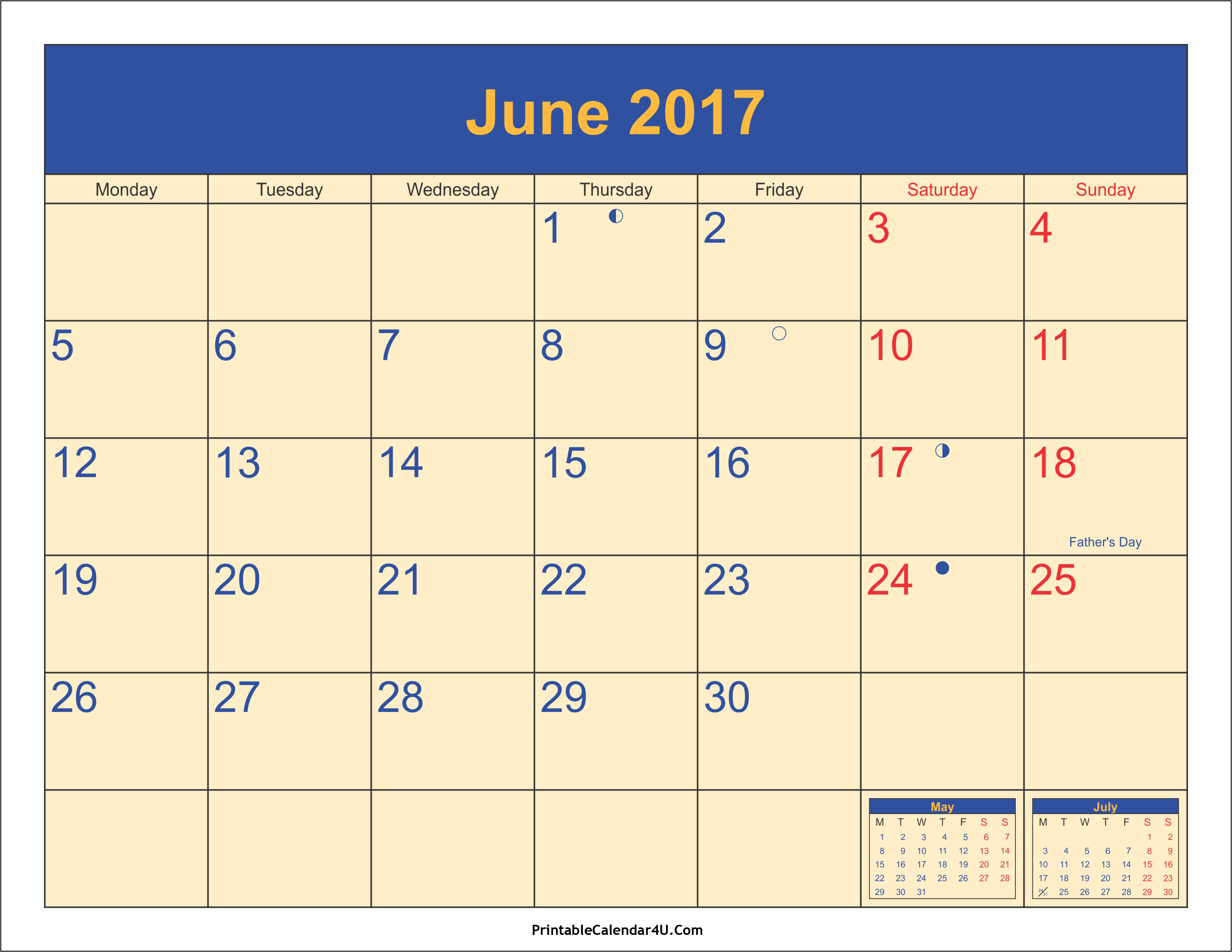 June 2017 Calendar Printable with Holidays PDF and