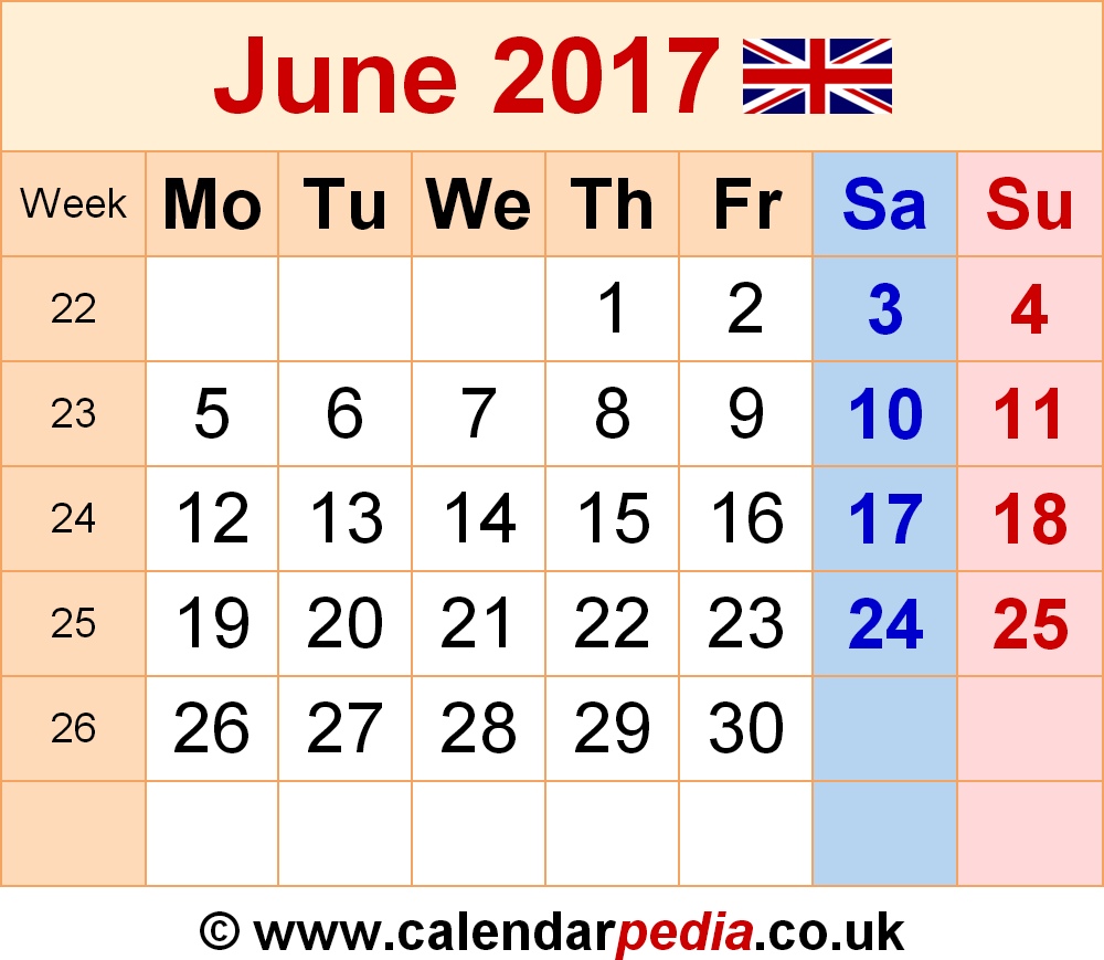 Calendar June 2017 UK, Bank Holidays, Excel/PDF/Word Templates