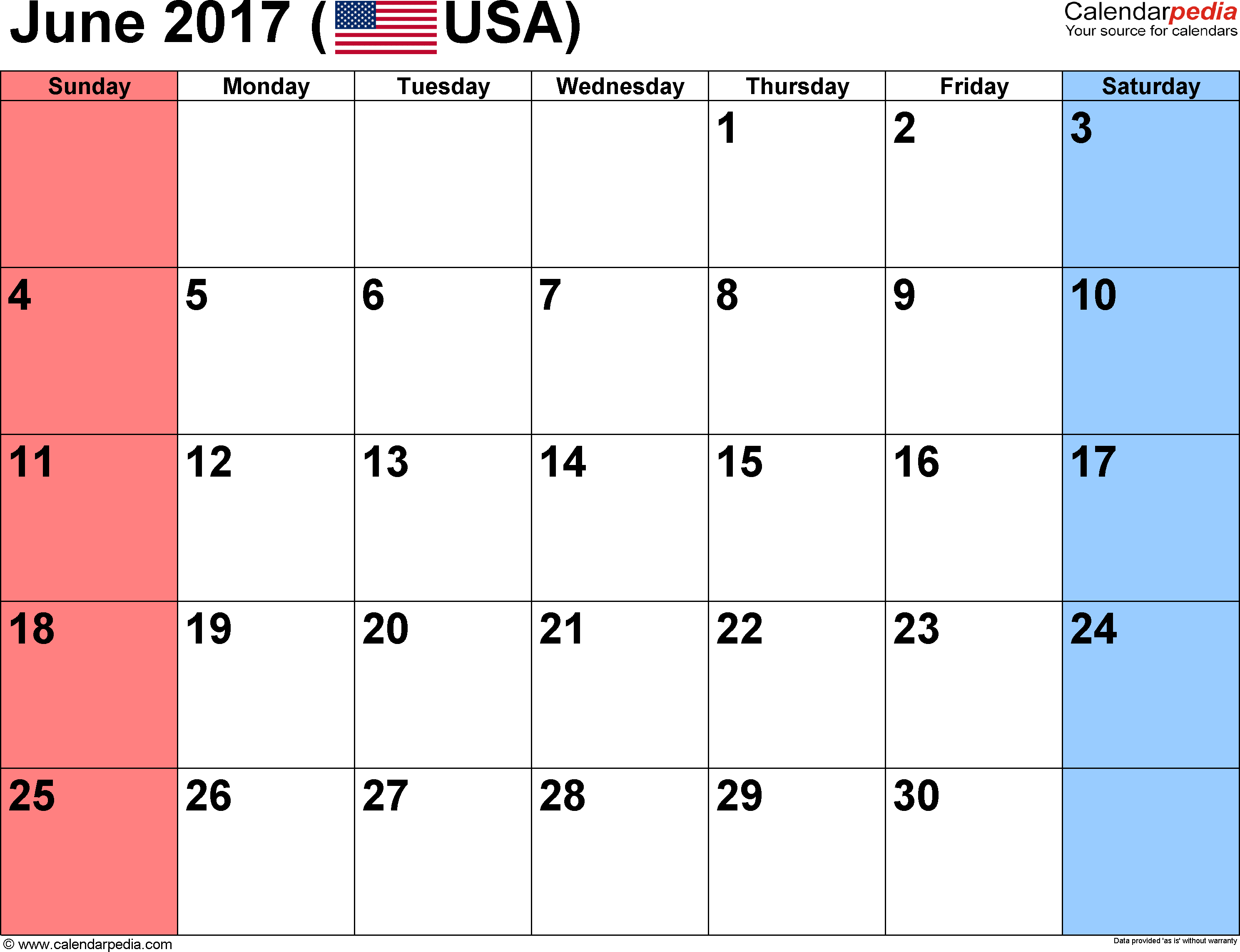 June 2017 Calendars for Word, Excel & PDF