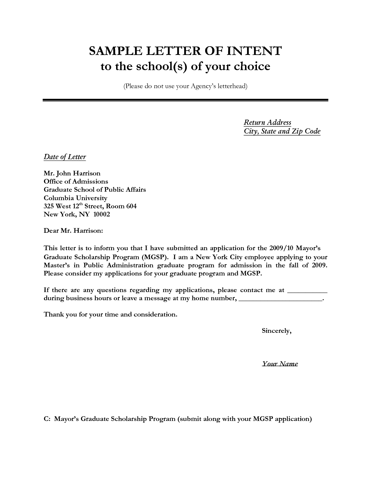 Letter Of Intent Application Job Sample Letter Of Intent For Job