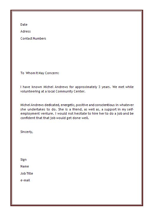 Microsoft Word Letter Of Recommendation Template sample