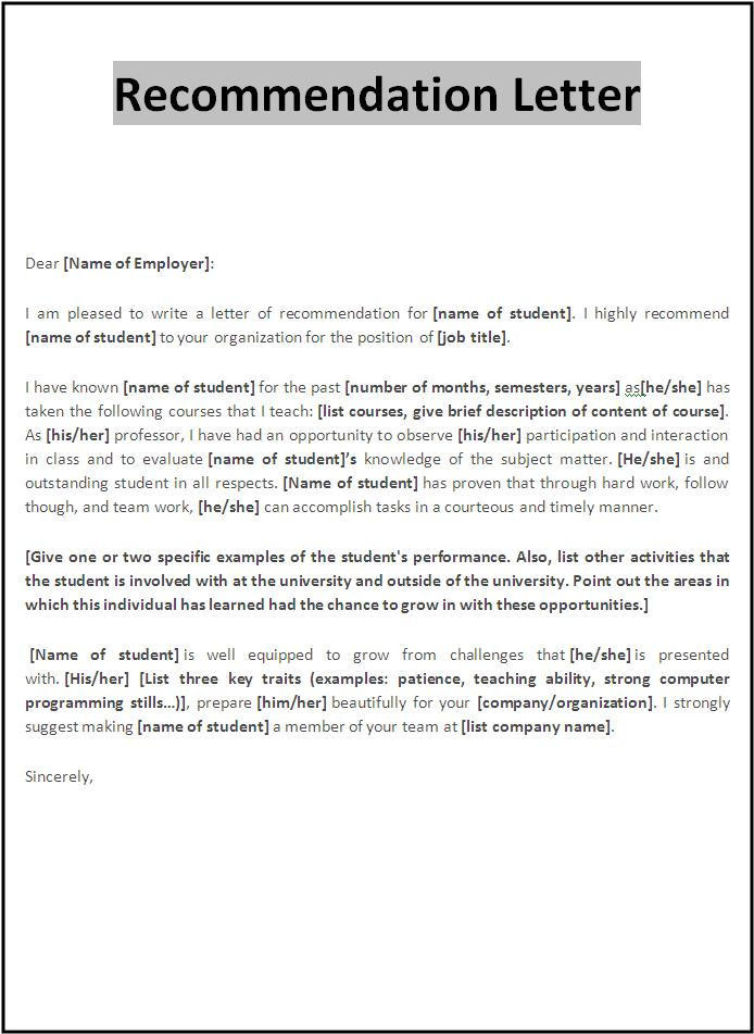 Letter Of Recommendation Template Word 2010 Cover Letter Templates