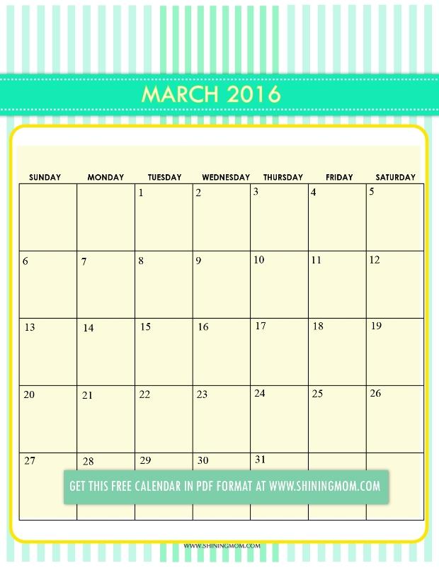 March 2017 Calendar Cute | monthly calendar printable