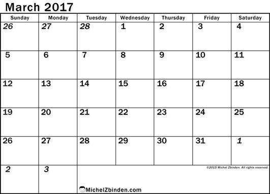 March 2017 Calendar Pdf | printable calendar templates