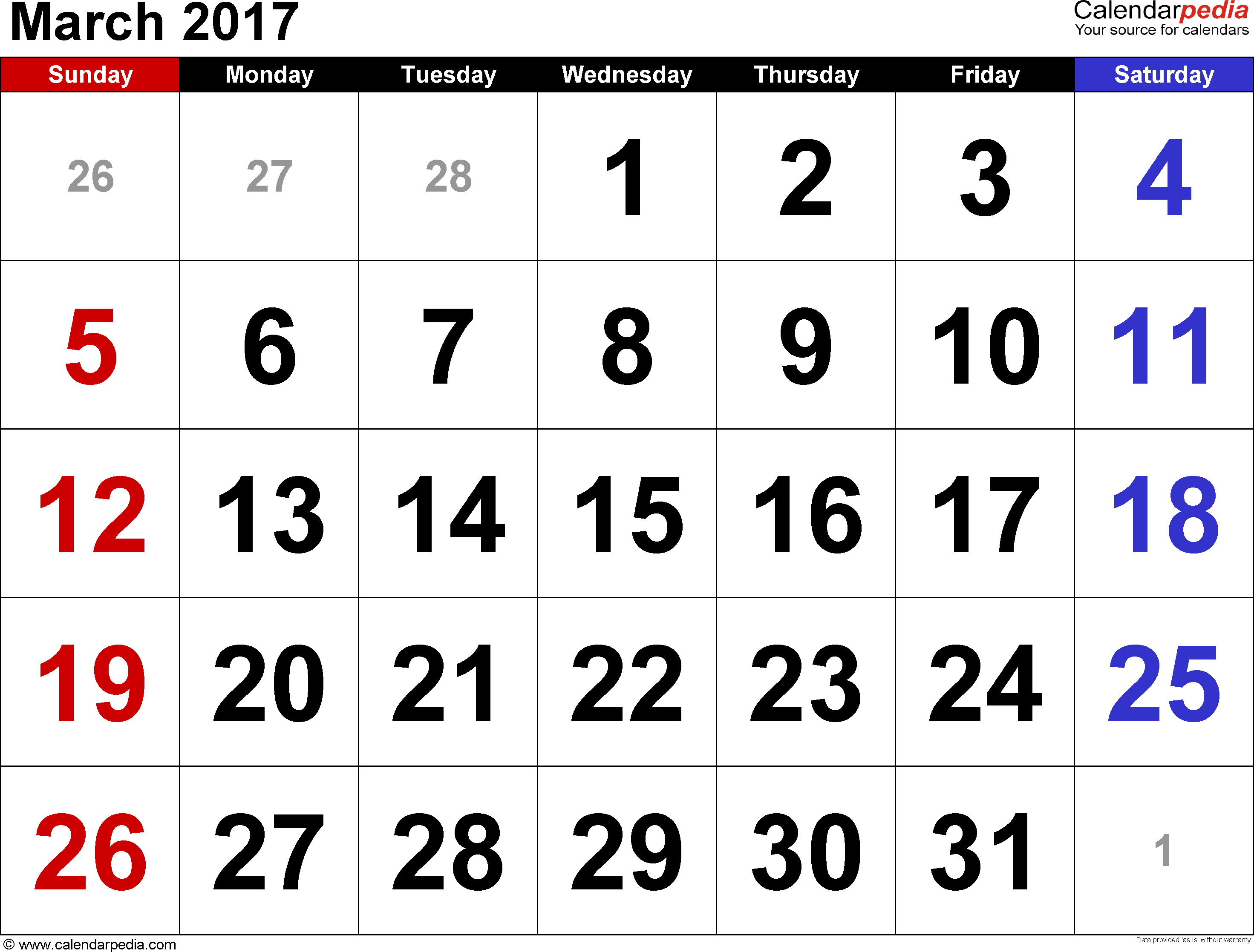 March 2017 Calendars for Word, Excel & PDF