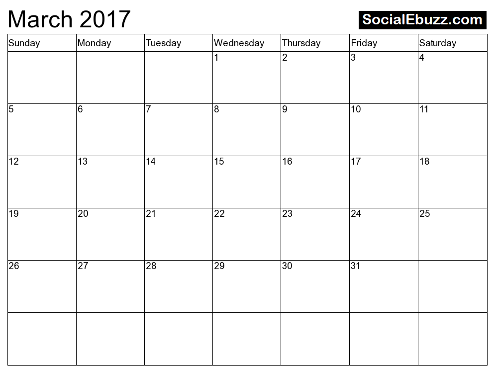 Free March 2017 Calendar Printable Holidays Template PDF | 2017