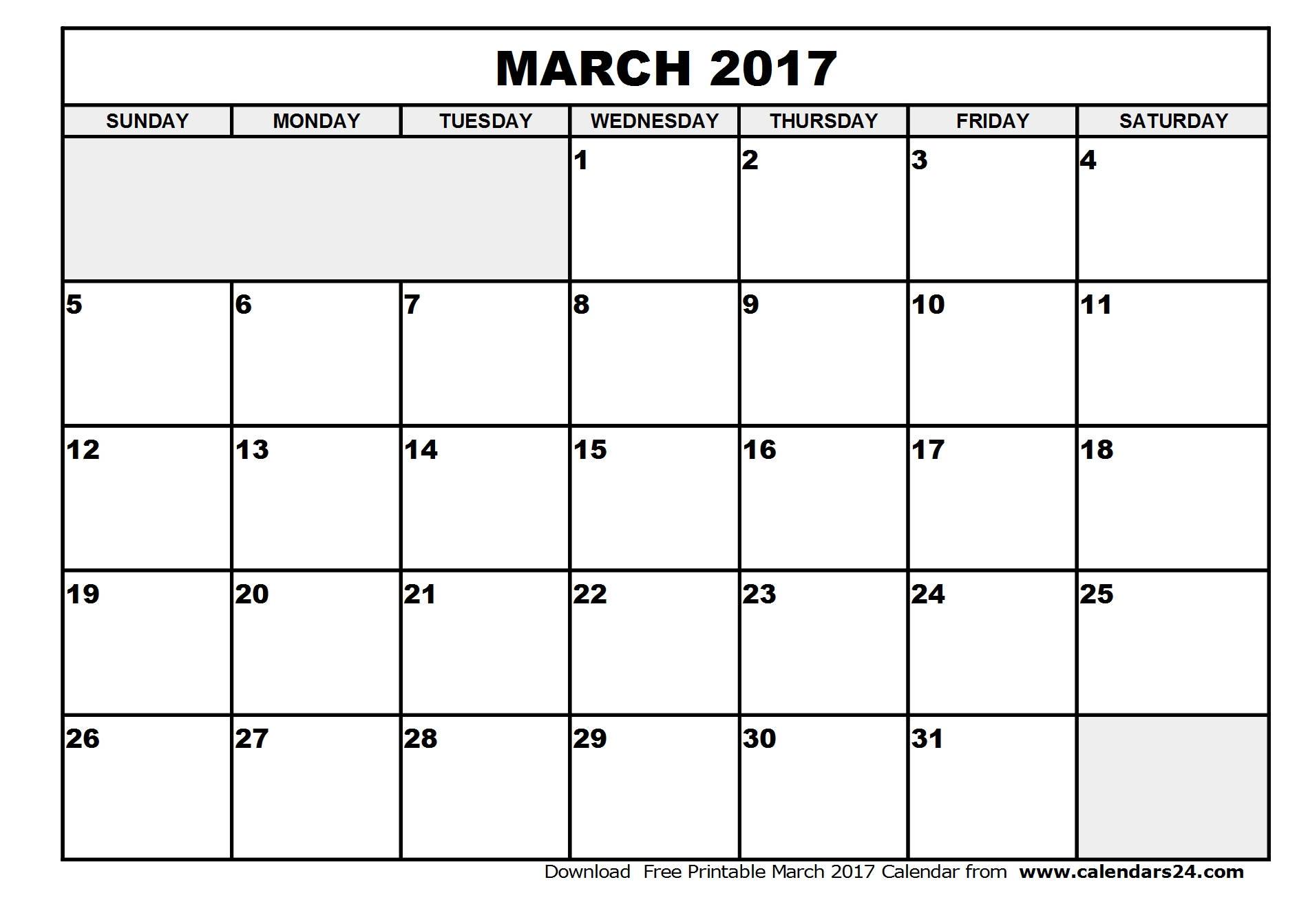March 2017 Calendar & April 2017 Calendar