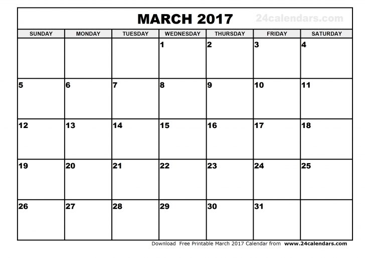 Blank March 2017 Calendar in Printable format.