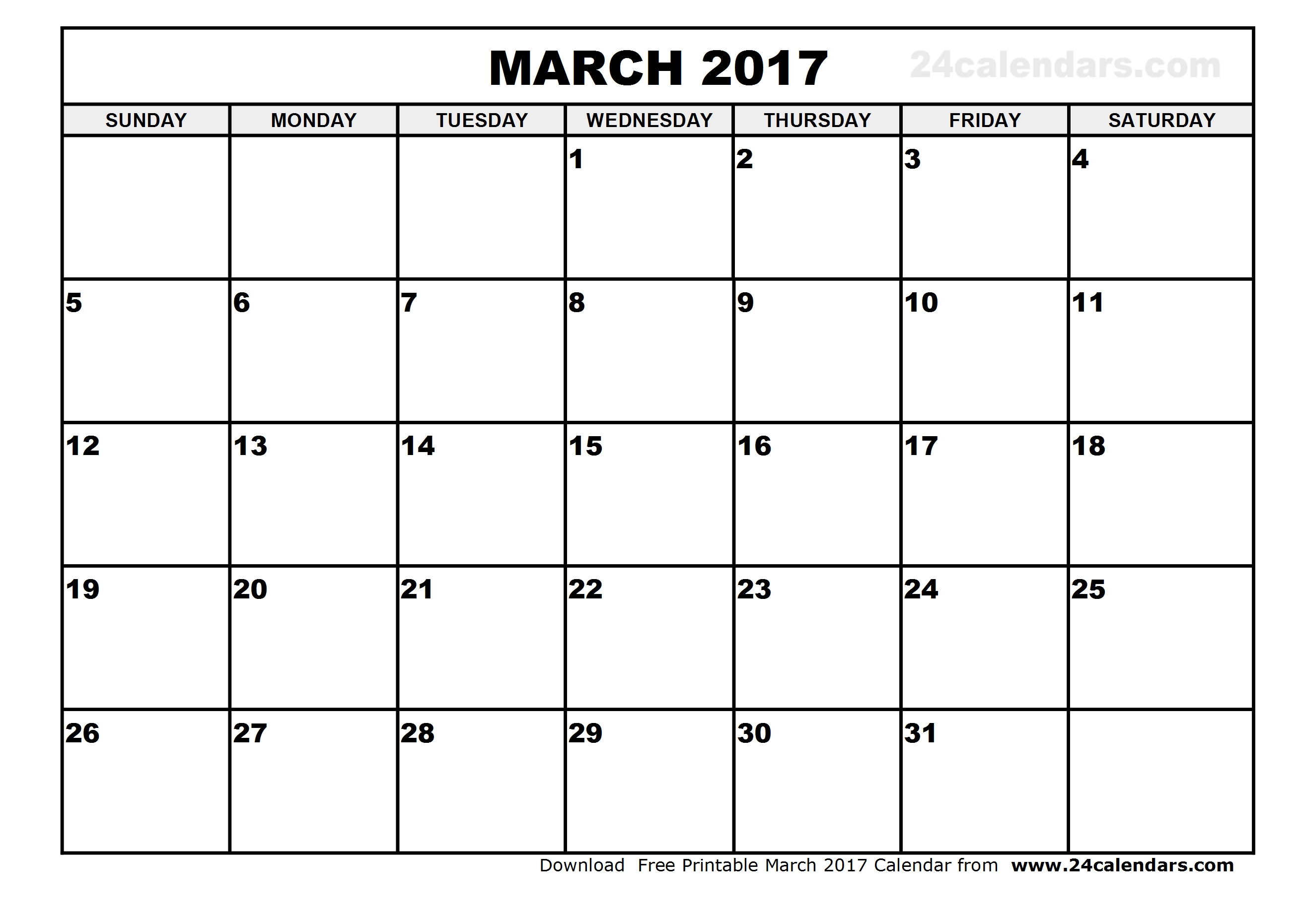 Free March 2017 Calendar (With US Holidays) – Printable Calendar