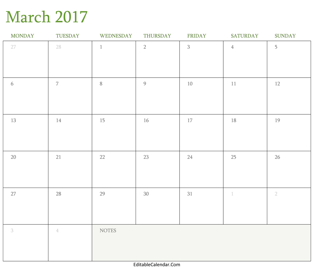 Blank March 2017 Calendar Template Word, PDF Monhly Calendar 2017