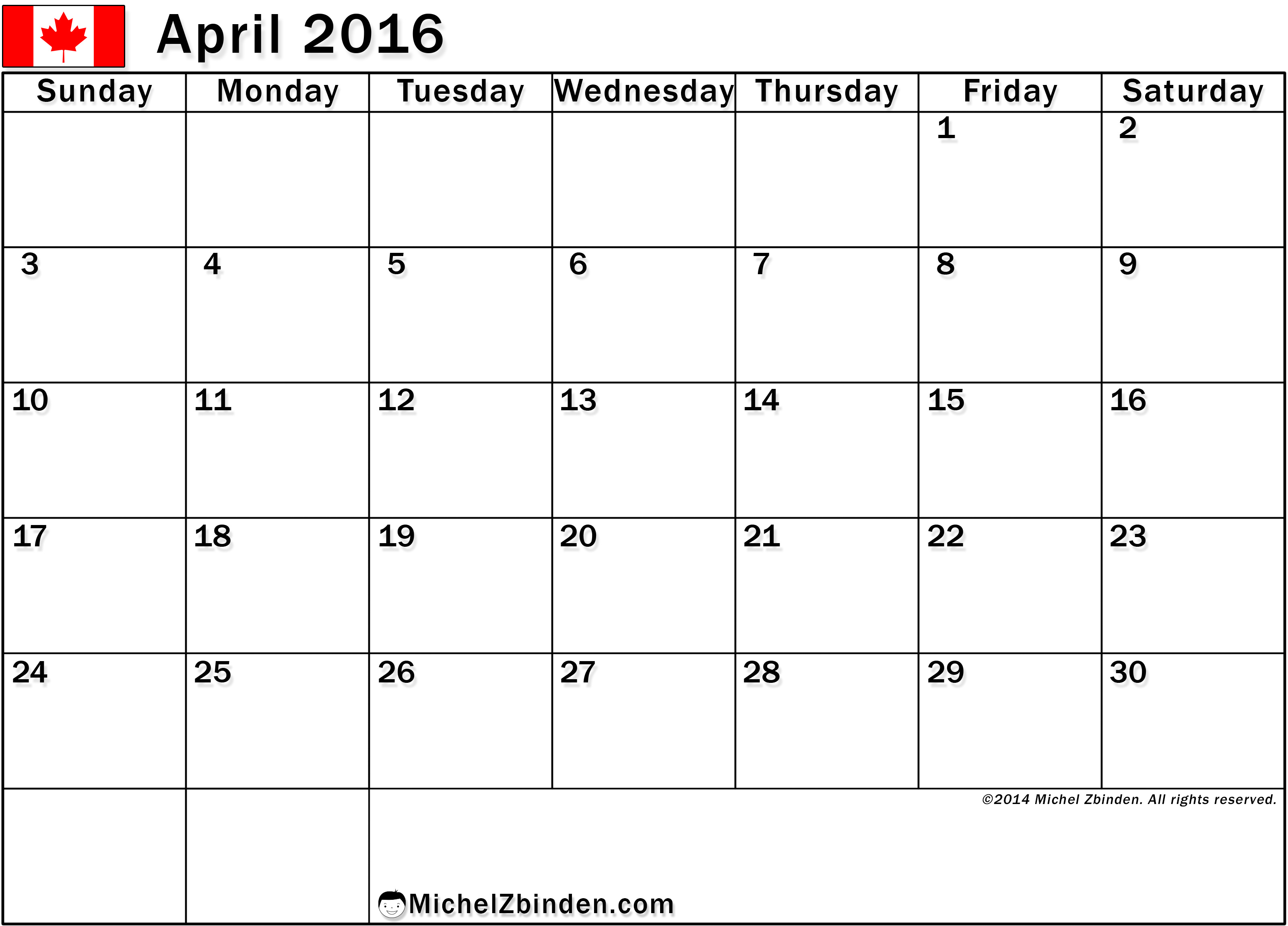 April 2017 Calendar Canada | weekly calendar template