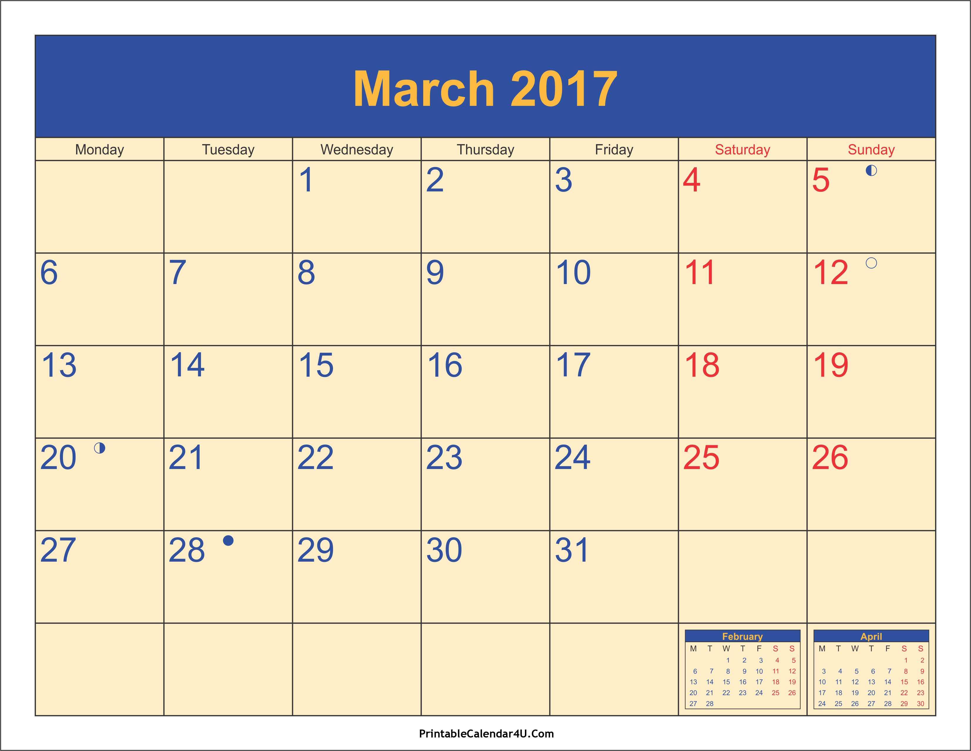 March 2017 Calendar Canada