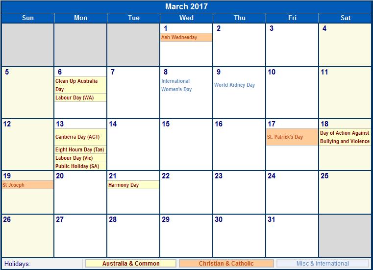 March 2017 Calendar With Holidays Canada   weekly calendar template