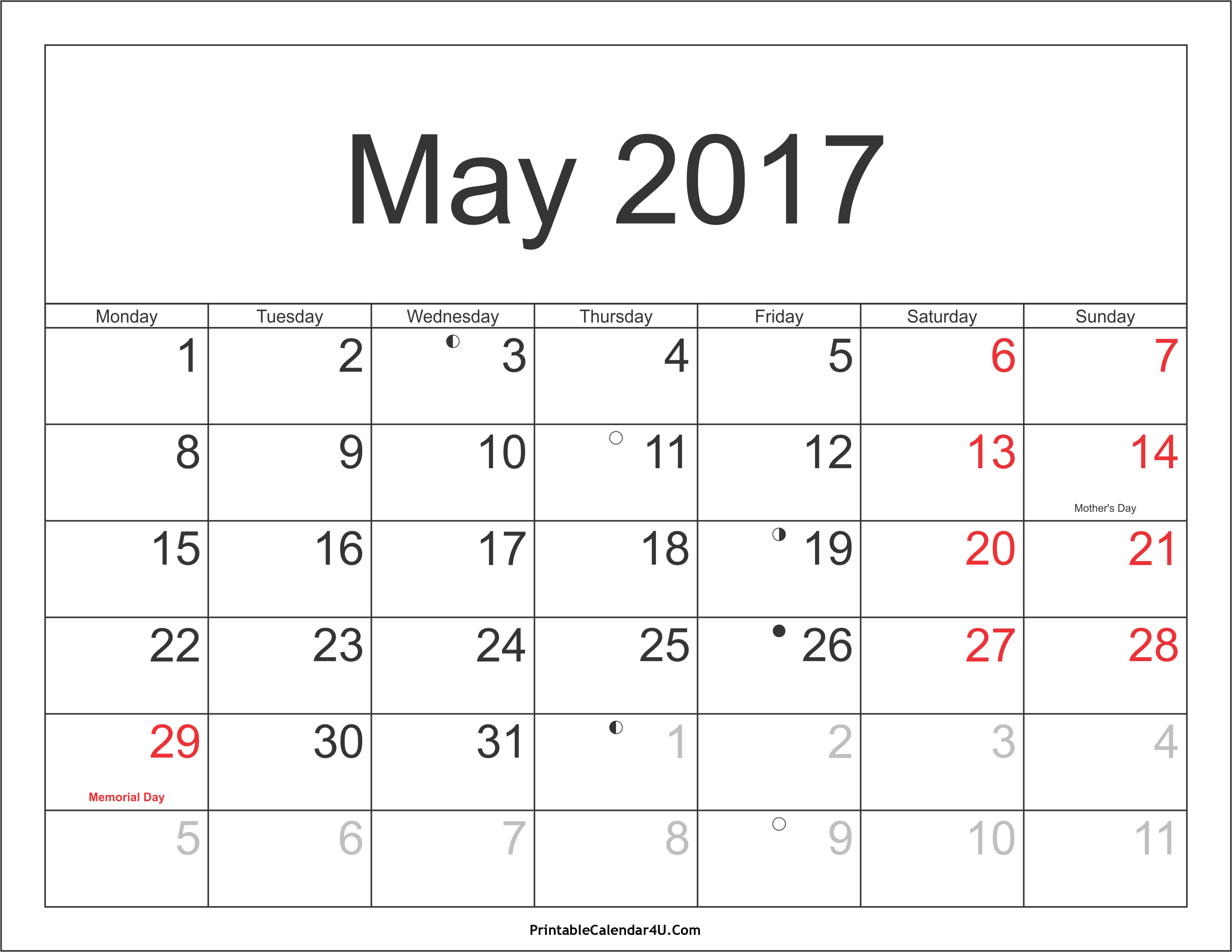 May 2017 Calendar With Holidays Canada | yearly calendar template