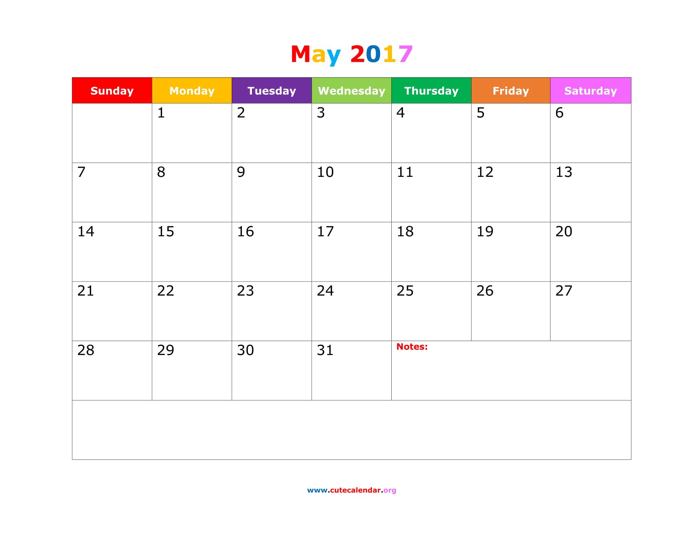May 2017 Calendar Cute | free calendar 2017