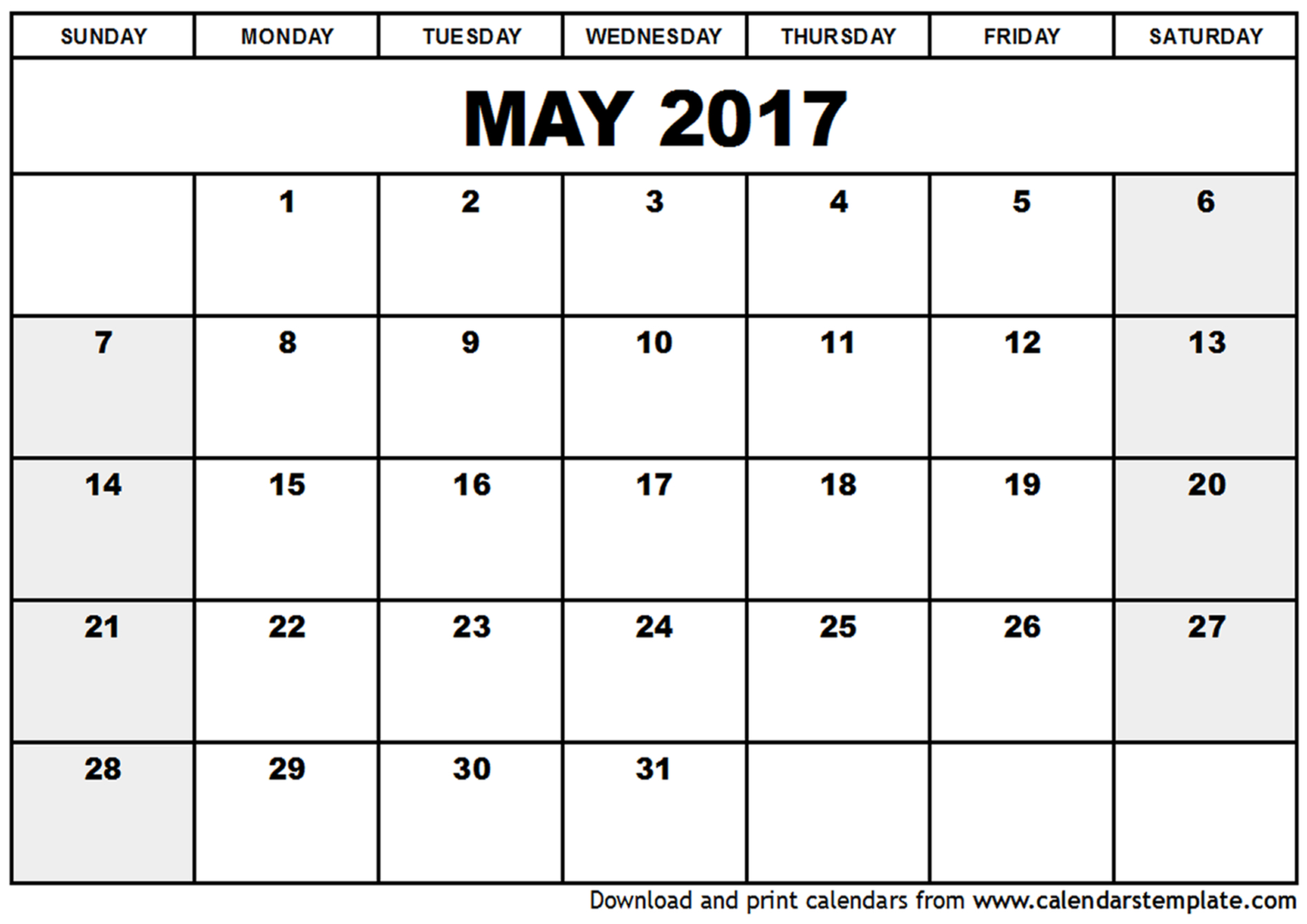 Free May 2017 Calendar Printable Templates – Webelations