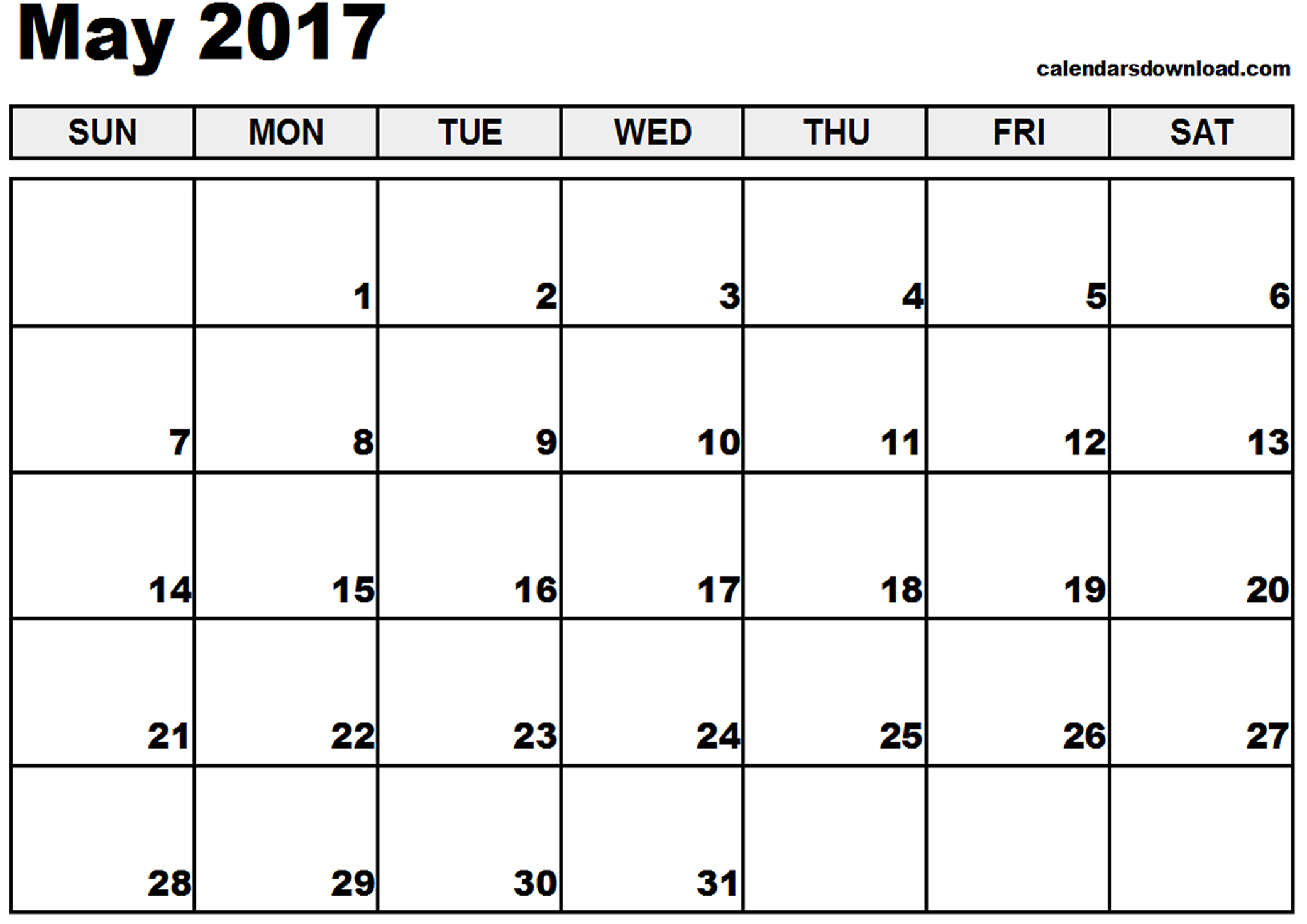 Free May 2017 Calendar (With US Holidays) – Printable Calendar