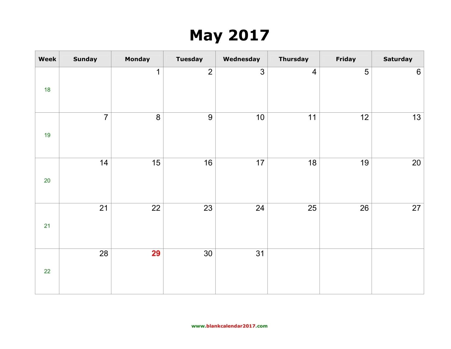 Blank Calendar for May 2017