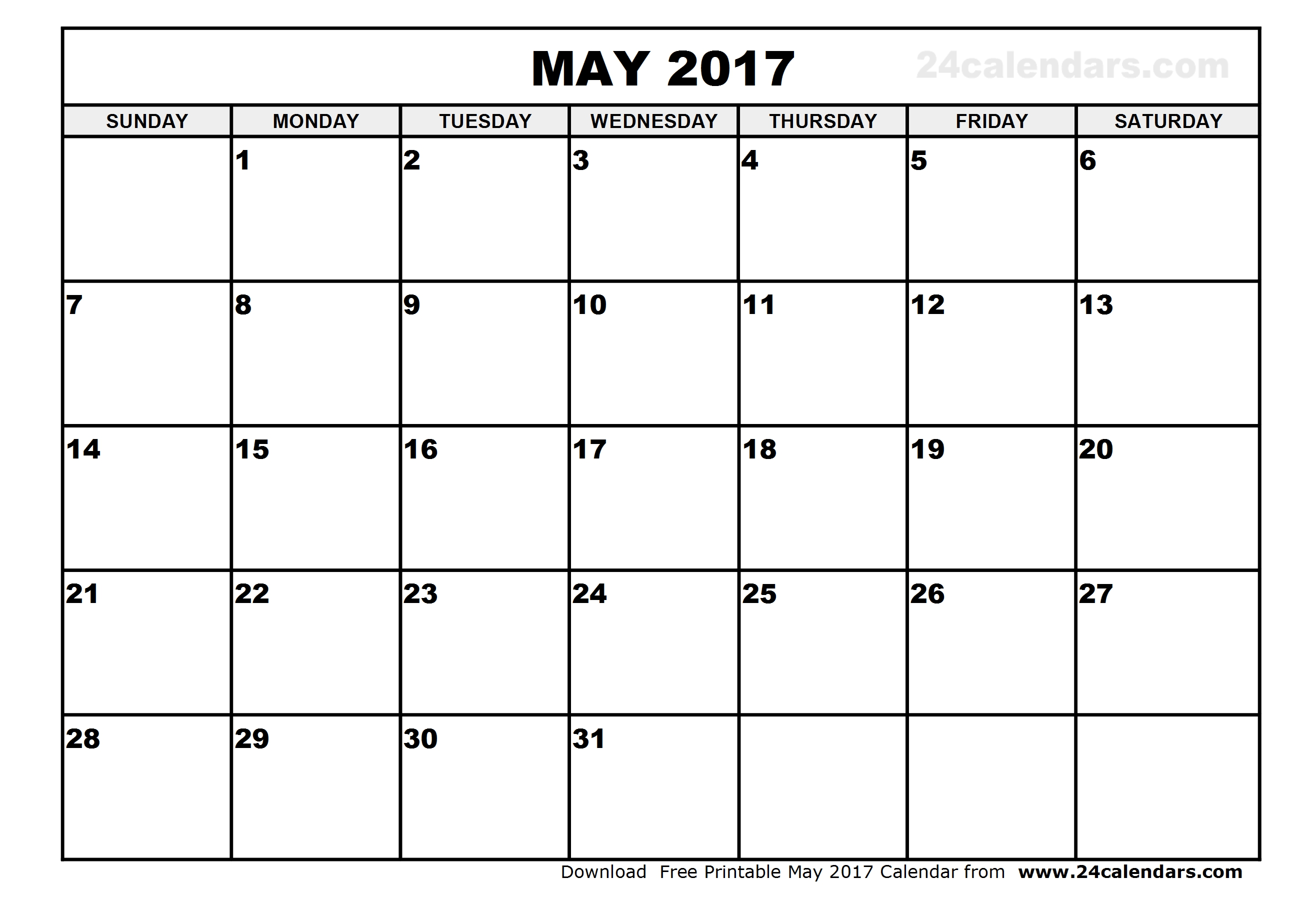 May 2017 Calendar | printable calendar templates