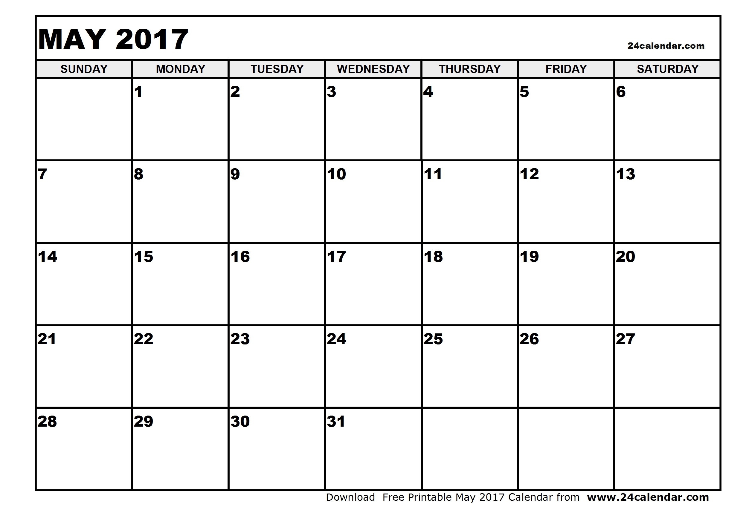 May 2017 Calendar Pdf | weekly calendar template
