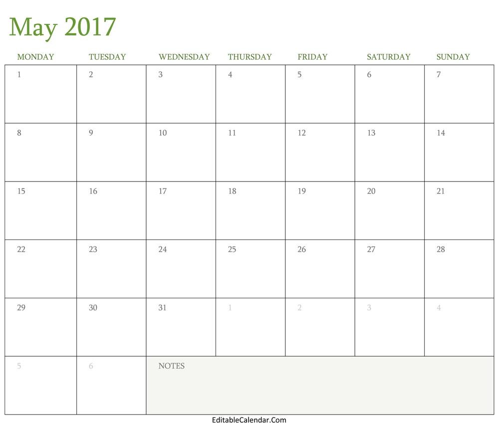 Blank May 2017 Calendar Template Word, PDF Monhly Calendar 2017
