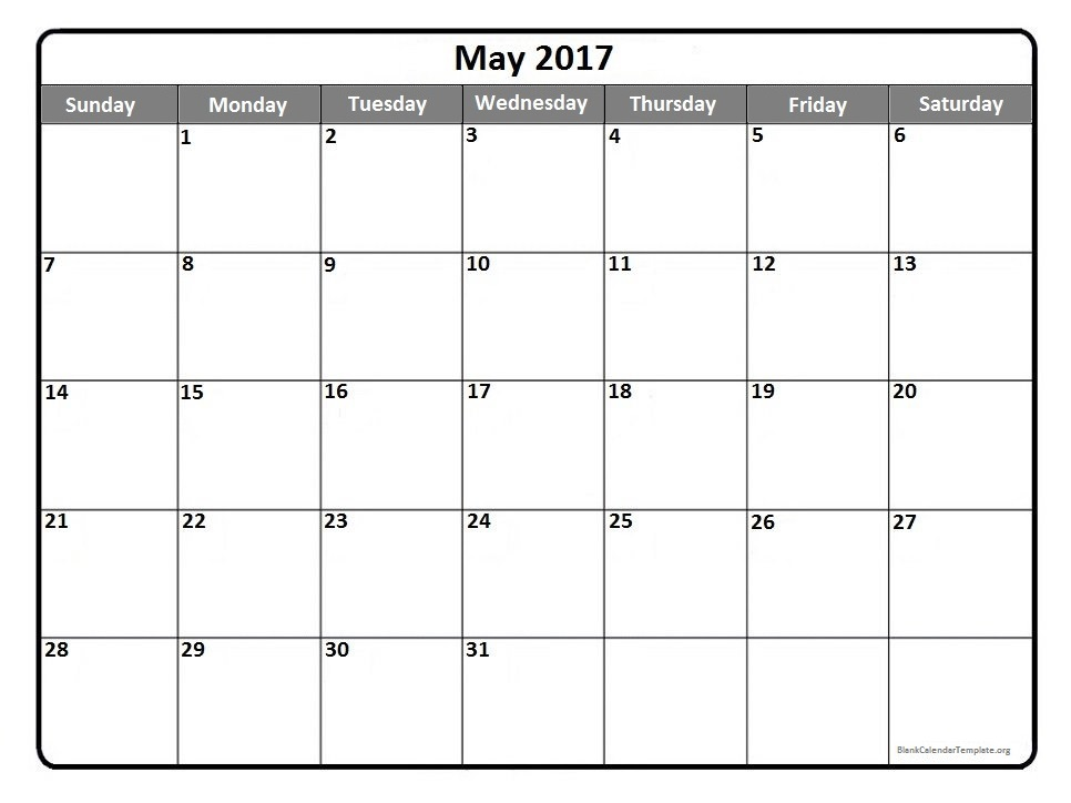 May 2017 Calendar Template | weekly calendar template