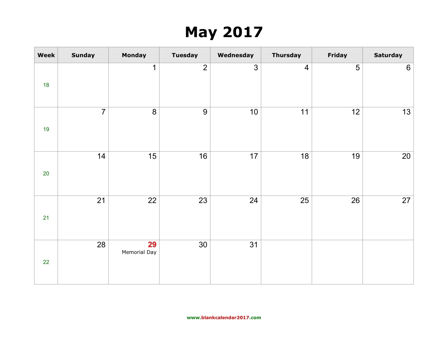 Blank Calendar for May 2017