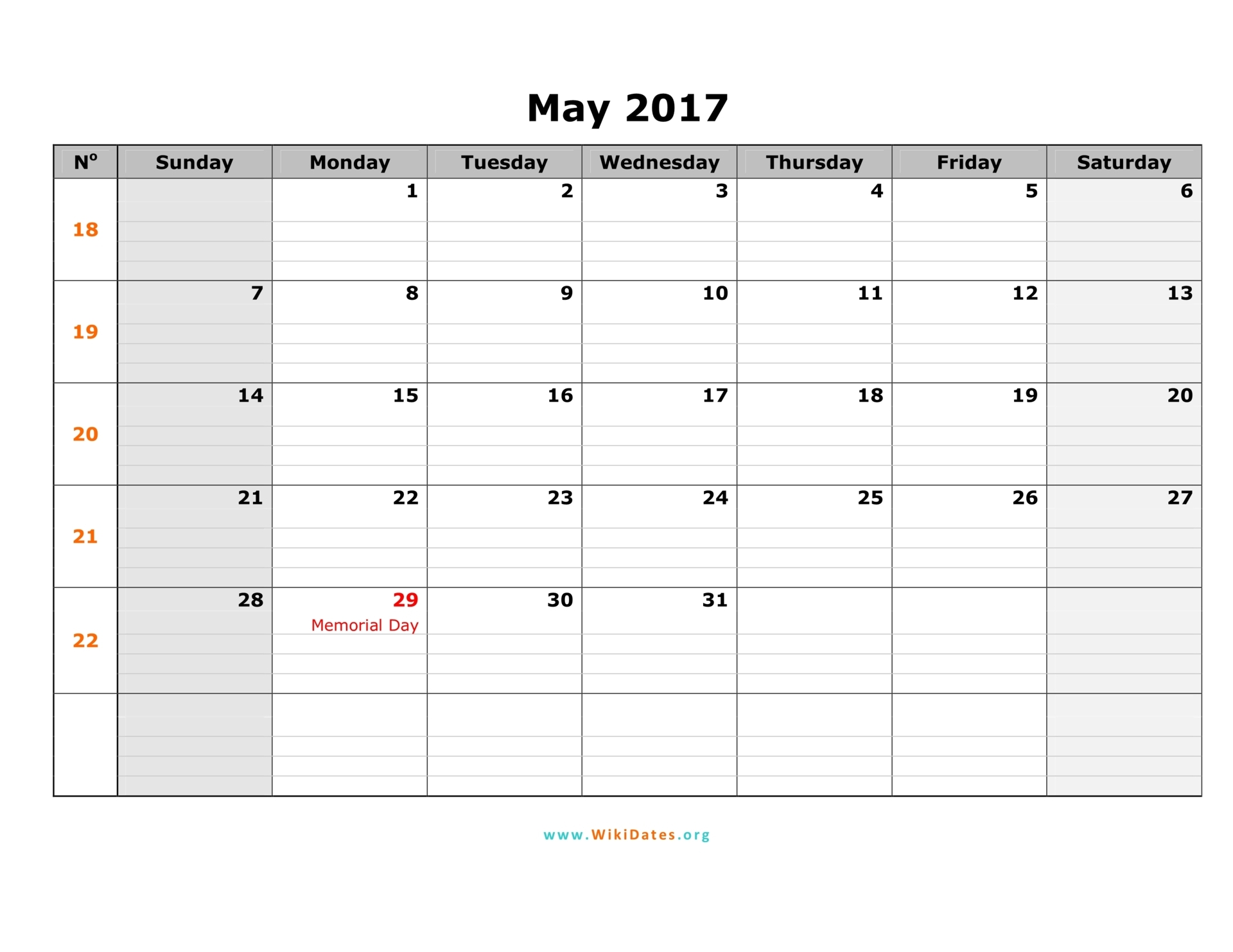 May 2017 Calendar With Holidays | weekly calendar template