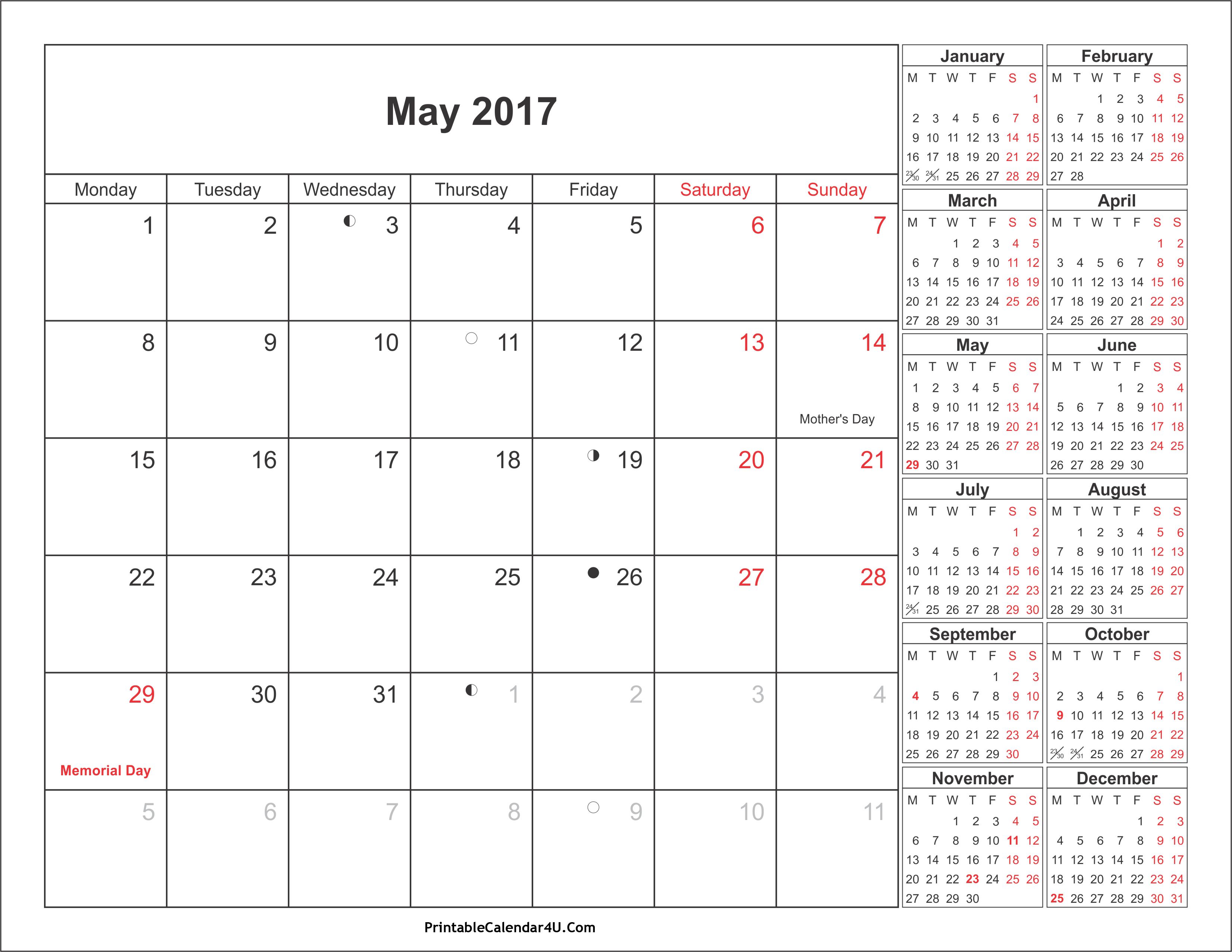 May 2017 Calendar with Holidays 4 Printable Calendar 2016 2017