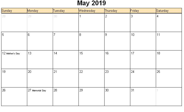 Blank Printable May 2019 Calendar