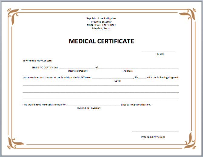 Medical Certificate Template | Microsoft Word Templates