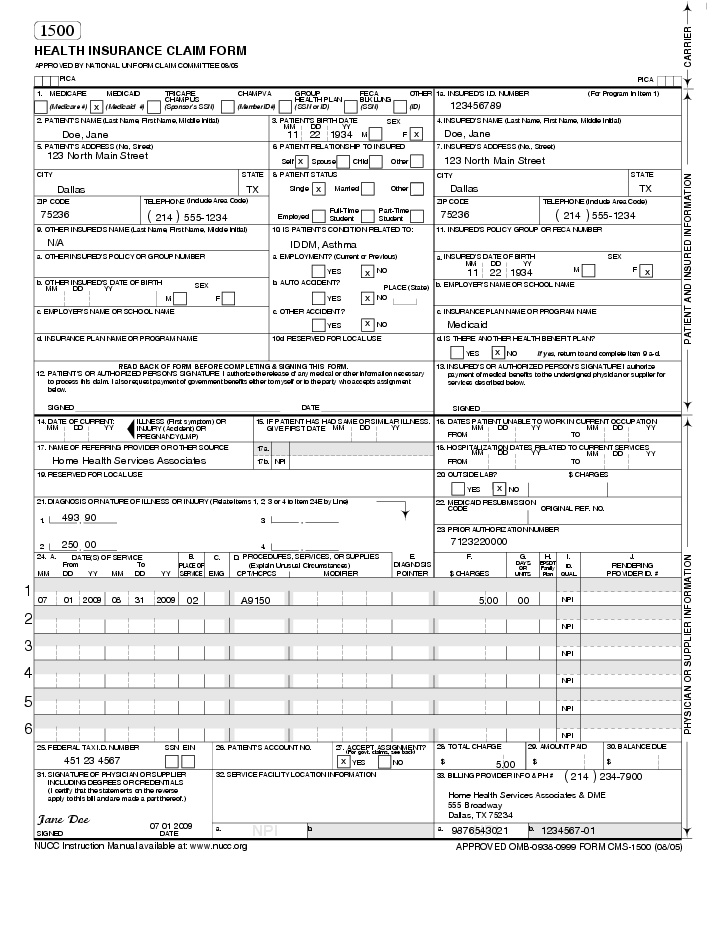 Medical Claim Form | Templates Free Printable