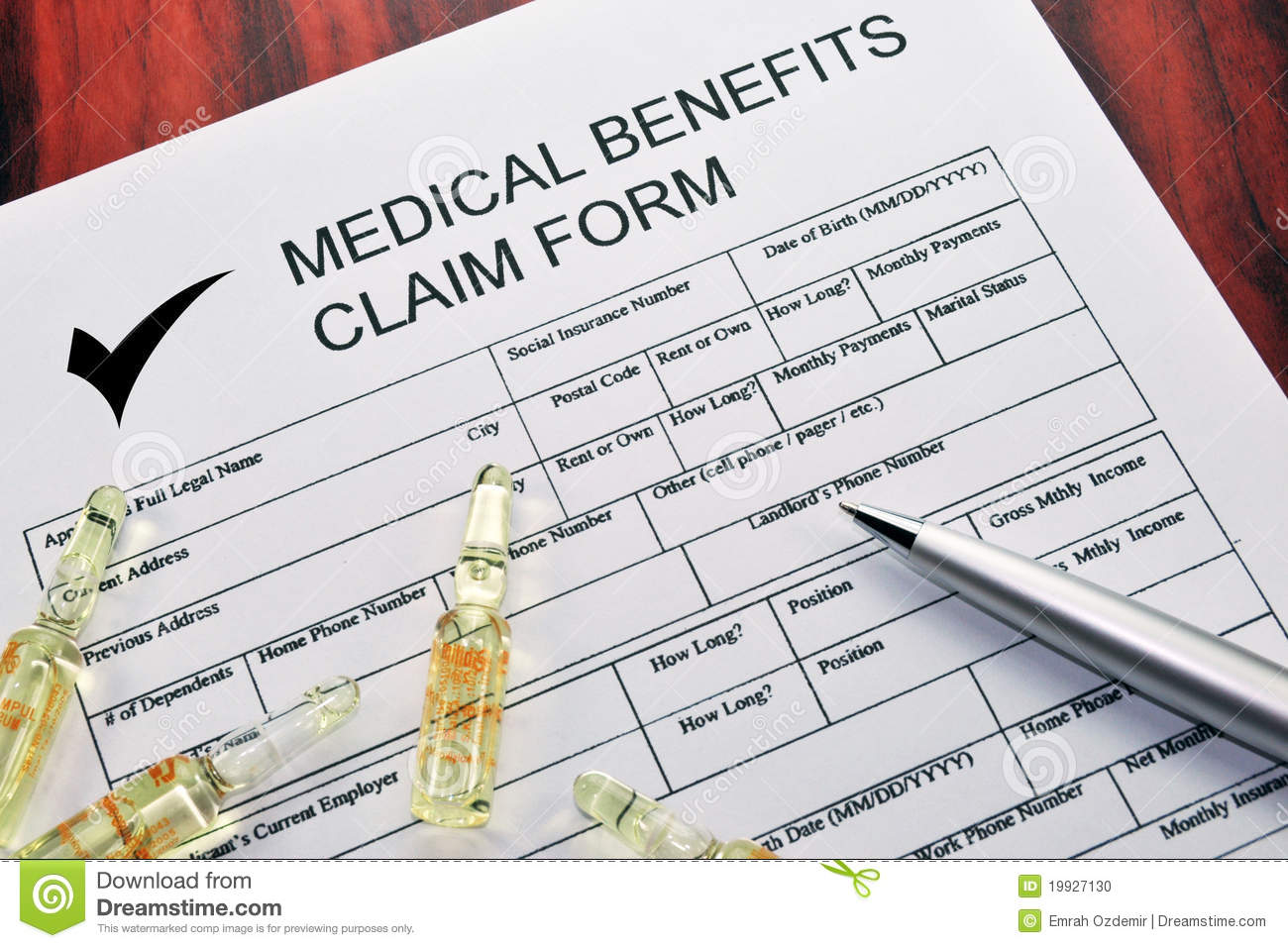Medical Benefits Claim Form Stock Photo Image: 19927130