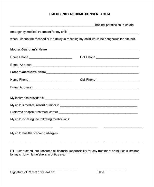 letter to give permission for medical care